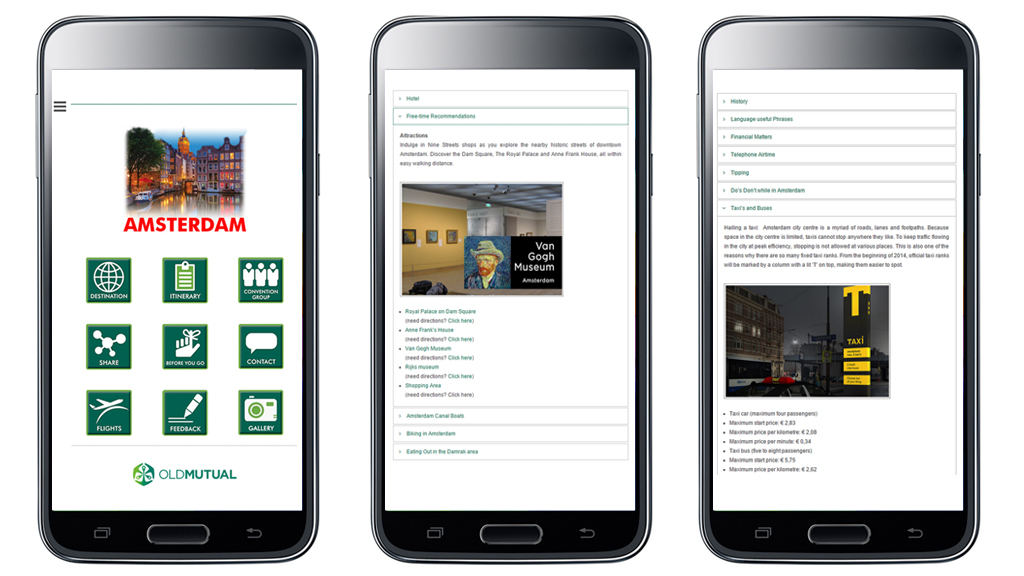 Mobile app for Old Mutual convention to Amsterdam