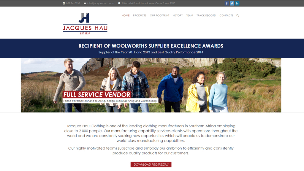 Website for Jacques Hau Clothing